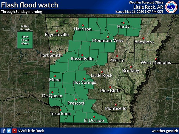 Flash Flood Watches were posted from the late afternoon of 05/16/2020 to 700 am CDT the next morning for much of northern and western Arkansas.
