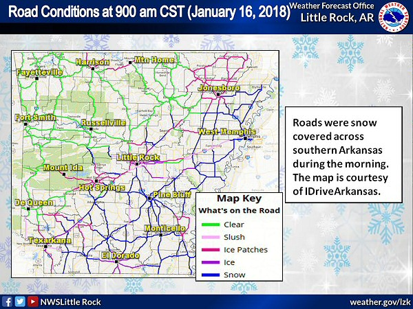 Roads were snow and slush covered in much of southern and eastern Arkansas at 900 am CST on 01/16/2018. The image is courtesy of IDriveArkansas.