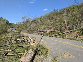 Powerful winds mowed down a lot of trees at the Shady Lake Recreation Area (Polk County) on 04/13/2018.