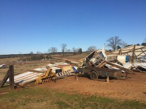 This barn was leveled east of Cleveland (Conway County).