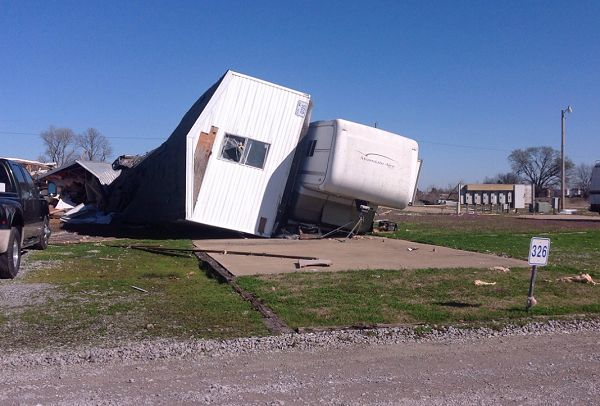 A trailer was flipped by powerful straight-line winds at a prison east of Newport (Jackson County) during the predawn hours of 03/01/2017.