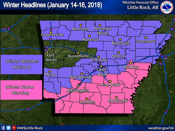 Winter weather headlines were posted across much of Arkansas in mid-January, 2018.
