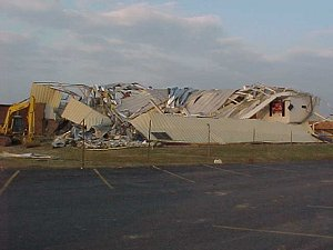 A high school gym was destroyed by a tornado at Beebe (White County) on 01/21/1999.