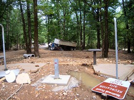 Parts of the campground were unrecognizable after the water went through, with buildings and signs toppled.