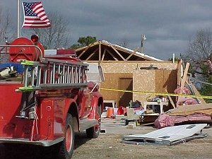 The volunteer fire station at Joy (White County) could not escape a tornado (rated F2) on 01/21/1999.