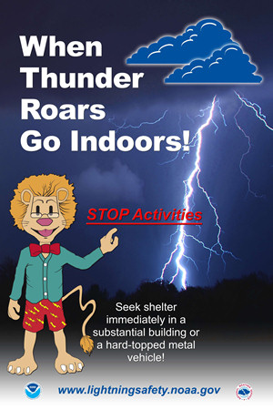 "Leon the Lightning Lion says, ""When Thunder Roars, Go Indoors!"""