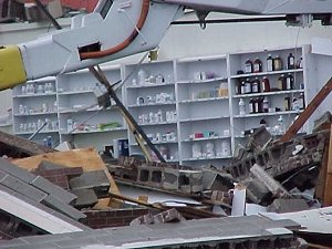 A grocery store was destroyed on 17th and Main in Little Rock (Pulaski County) on 01/21/1999. Medicine bottles were unharmed.