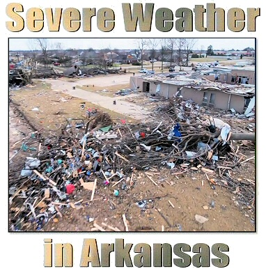 "This is the cover of the ""Severe Weather in Arkansas"" guide featuring a lot of trees mowed down by powerful wind gusts at least 90 mph at the Shady Lake Recreation Area (Polk County) on 04/13/2018."