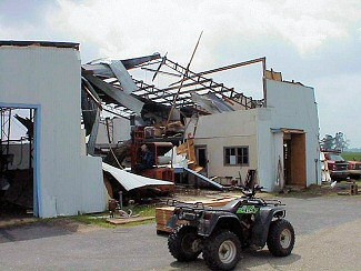 A large farm shop was destroyed just northeast of McCrory (Woodruff County) on Highway 64.