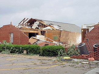 Just northeast of McCrory (Woodruff County), a church suffered damage.