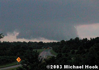 A wall cloud was witnessed over West Little Rock (Pulaski County). The photo is courtesy of Michael Hook.