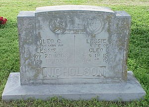 victims of the F5 tornado on April 10, 1929 included Mr. Cleo Nicholson, a beloved teacher at the Pleasant Valley School, and his wife Lessie.