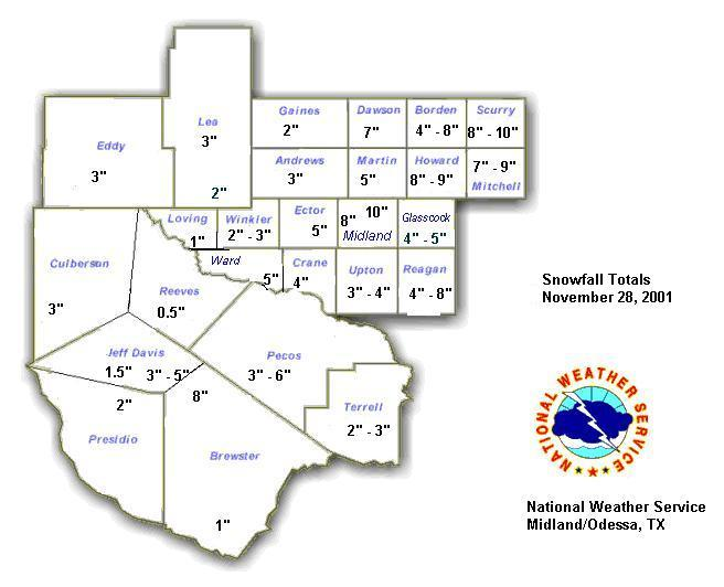 image of snowfall totals across west Texas and southeast New Mexico