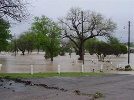 Flooding at James Rooney Memorial Park in Fort Stockton