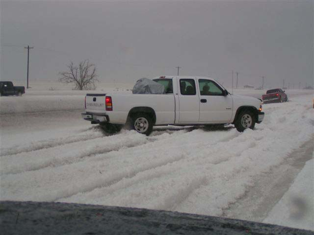 Photo of hail covered roads in Gaines county
