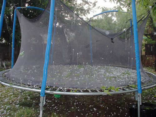 hail bouncing off a trampoline