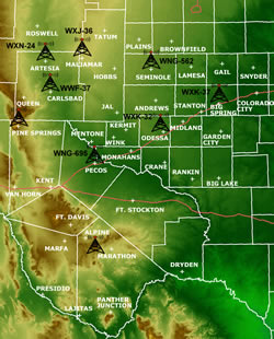 map of weather radio transmitters