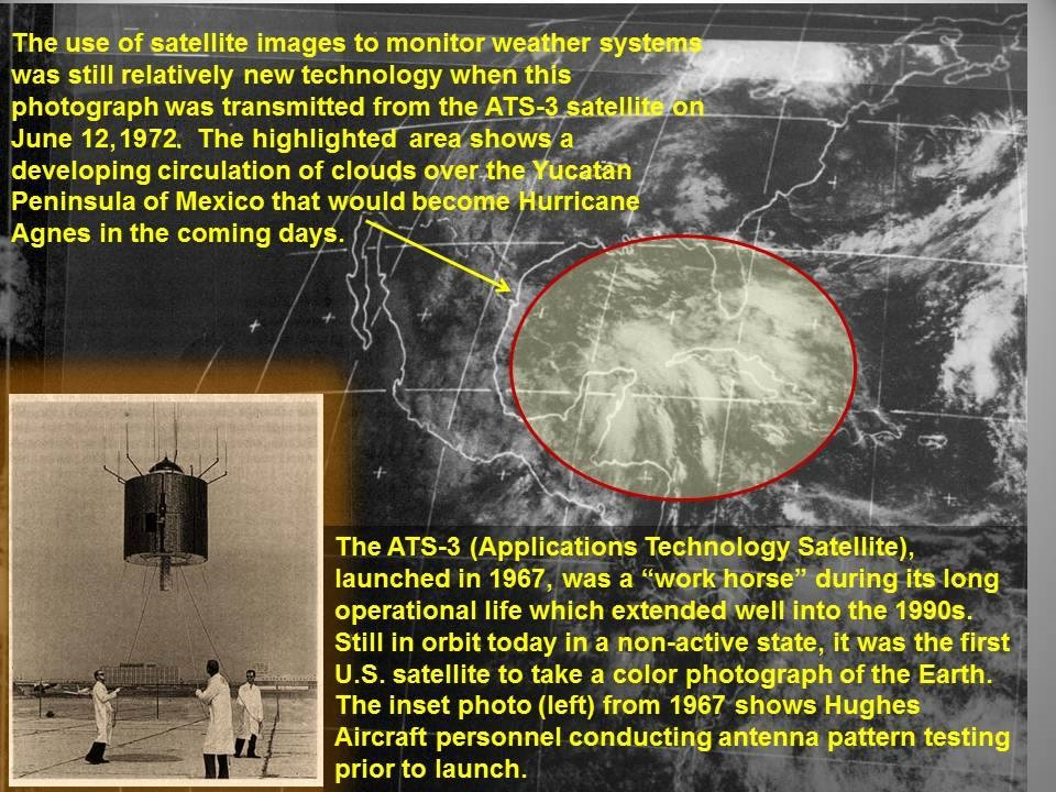 "Today, we begin a 45th anniversary look back at Hurricane Agnes, the greatest flood to ever devastate the Mid-Atlantic in both coverage and magnitude.  We will be re-posting a time line of the storm every day for the next 2 weeks from first indications that a storm was developing through its' aftermath. Originally posted for the 40th anniversary back in 2012, the images and story remain the same.  This very first image has an error in it. The date shown as ""June 12, 2012"" should actually be ""June 12, 1972""."