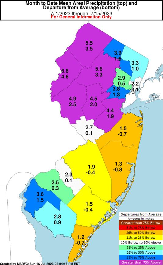 New Jersey Midmonth Precipitation Departures