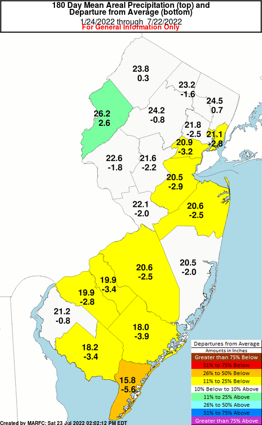 New Jersey 180 Day Precipitation Departures