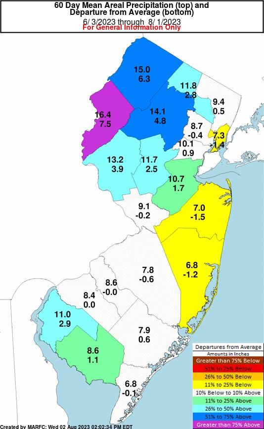 Gardenstateweather Blog New Jersey Areal Precipitation Departure Maps
