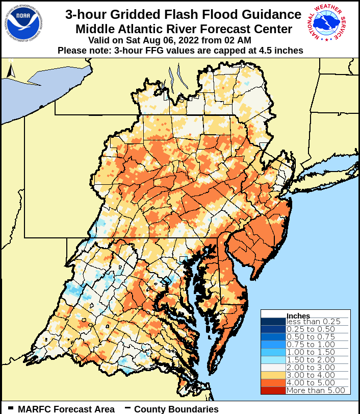 three hour flash flood guidance