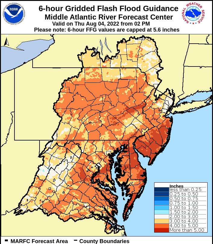 six hour flash flood guidance