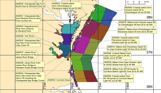 map showing marine forecast zones near Wakefield, VA