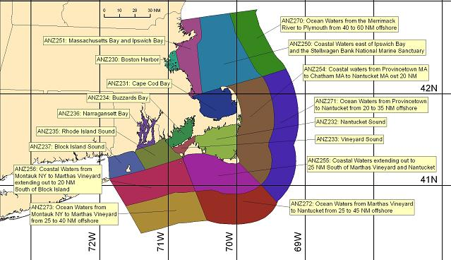 map showing marine forecast zones near Boston, MA