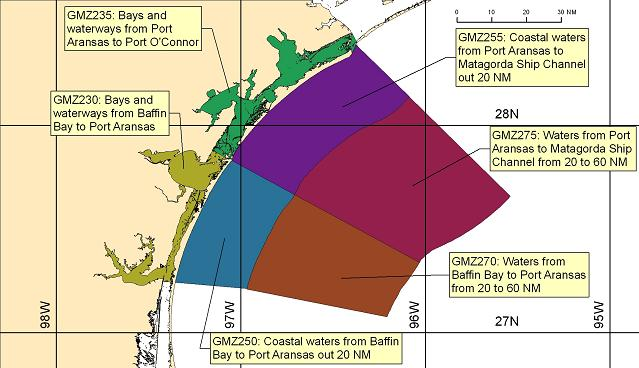 map showing marine forecast zones near Corpus Christi, TX
