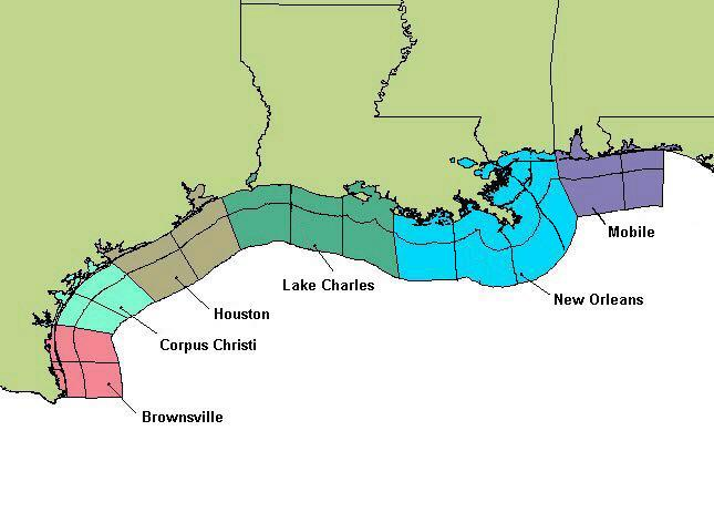 map of Gulf Coast states, showing National Weather Service offices that issue marine weather forecasts