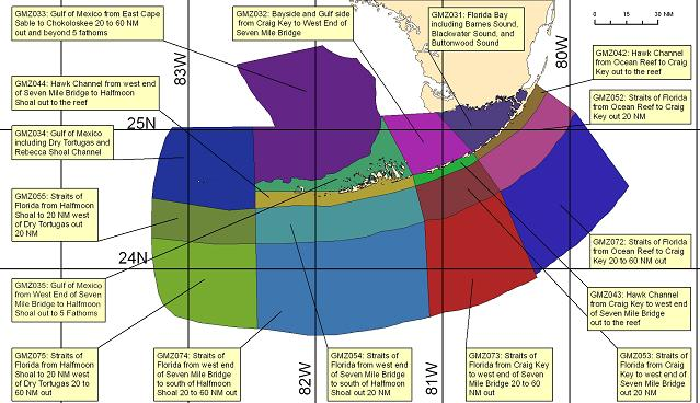 map showing marine forecast zones near Key West, FL