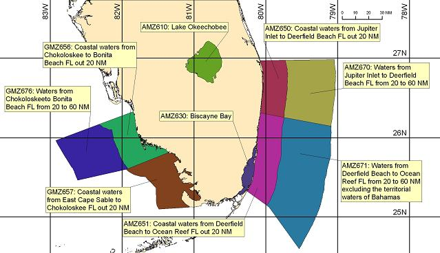 map showing marine forecast zones near Miami, FL