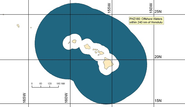 map showing offshore marine forecast zones off of Hawaii