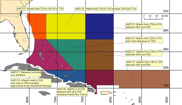 map showing offshore marine forecast zones in the Tropical Atlantic