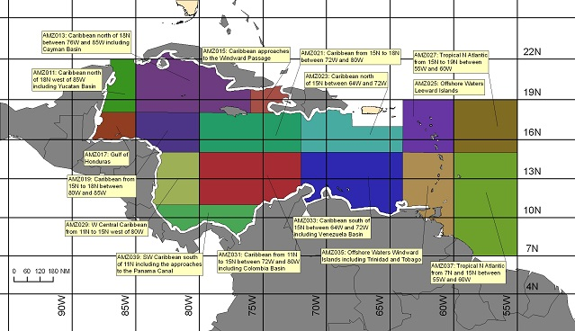 map showing offshore marine forecast zones in the Caribbean