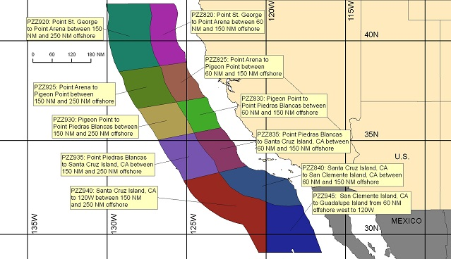 map showing offshore marine forecast zones off the California coast