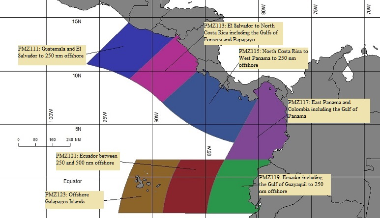 map showing offshore marine forecast zones for the Eastern Pacific Ocean