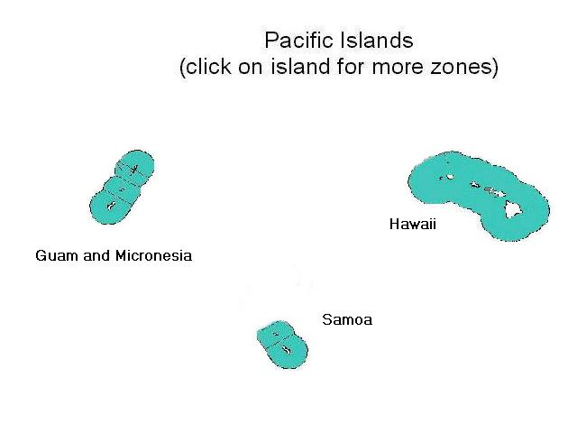 map of Pacific Islands, highlighting NWS offices that issue marine forecasts