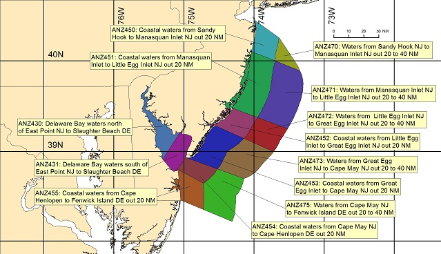 map showing marine forecast zones near Philadelphia, PA