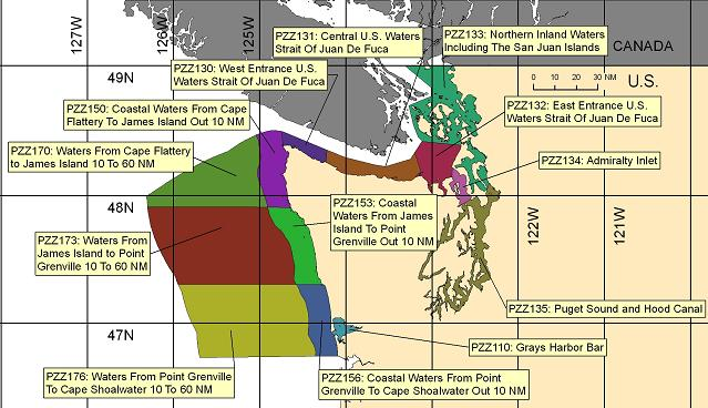 map showing marine forecast zones near Seattle, WA