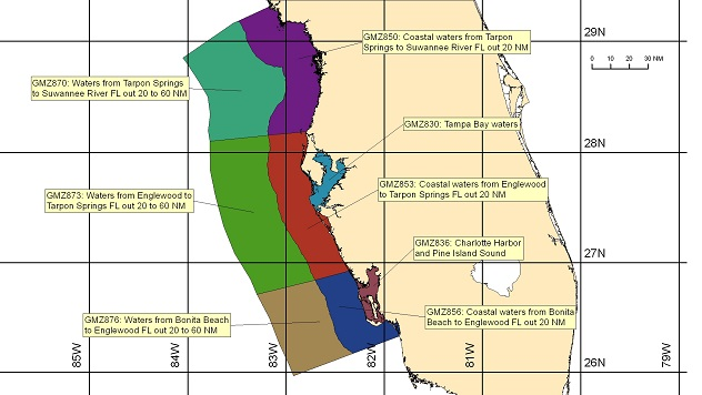 map showing marine forecast zones near Tampa, FL