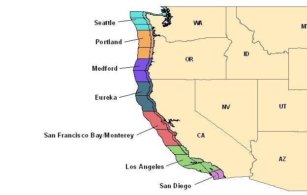 map of western United States showing National Weather Service offices that issue marine weather forecasts