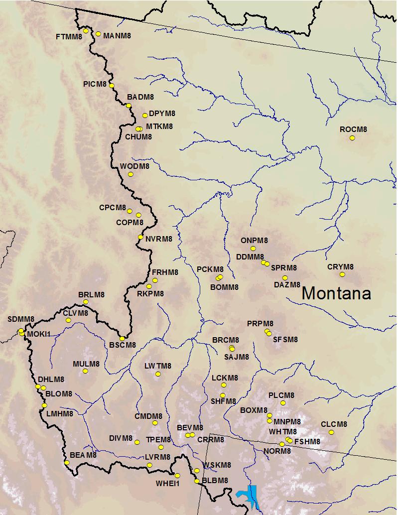 Snotel Montana Map.Accumulated Precipitation Plots For Montana