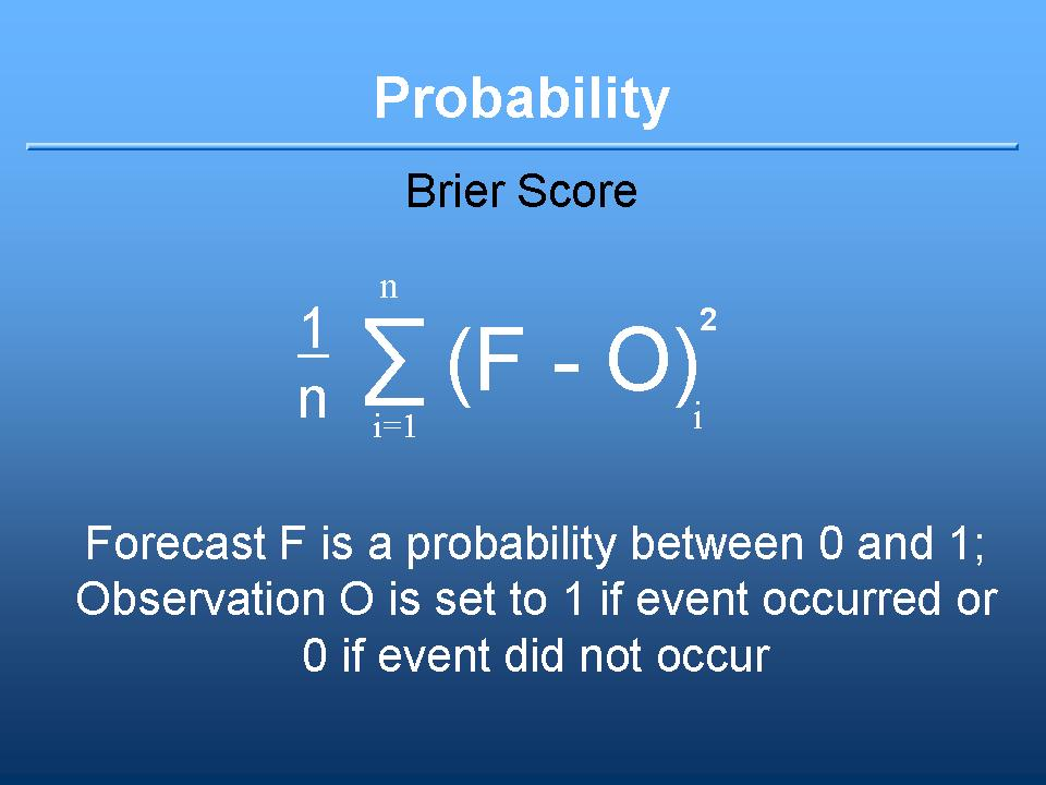 brier score definition: the summation of ( each forecast minus observation )squared, divided by number of cases. A forecast is a probability between 0 and 1. Observation of 1 means an event occurred, 0 means it did not. A probability score.