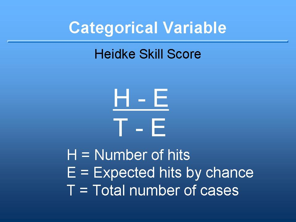 Heidke Skill Score definition:  number of hits minus expected hits by chance divided by total number of cases minus expected number of his by chance. A categorical variable.