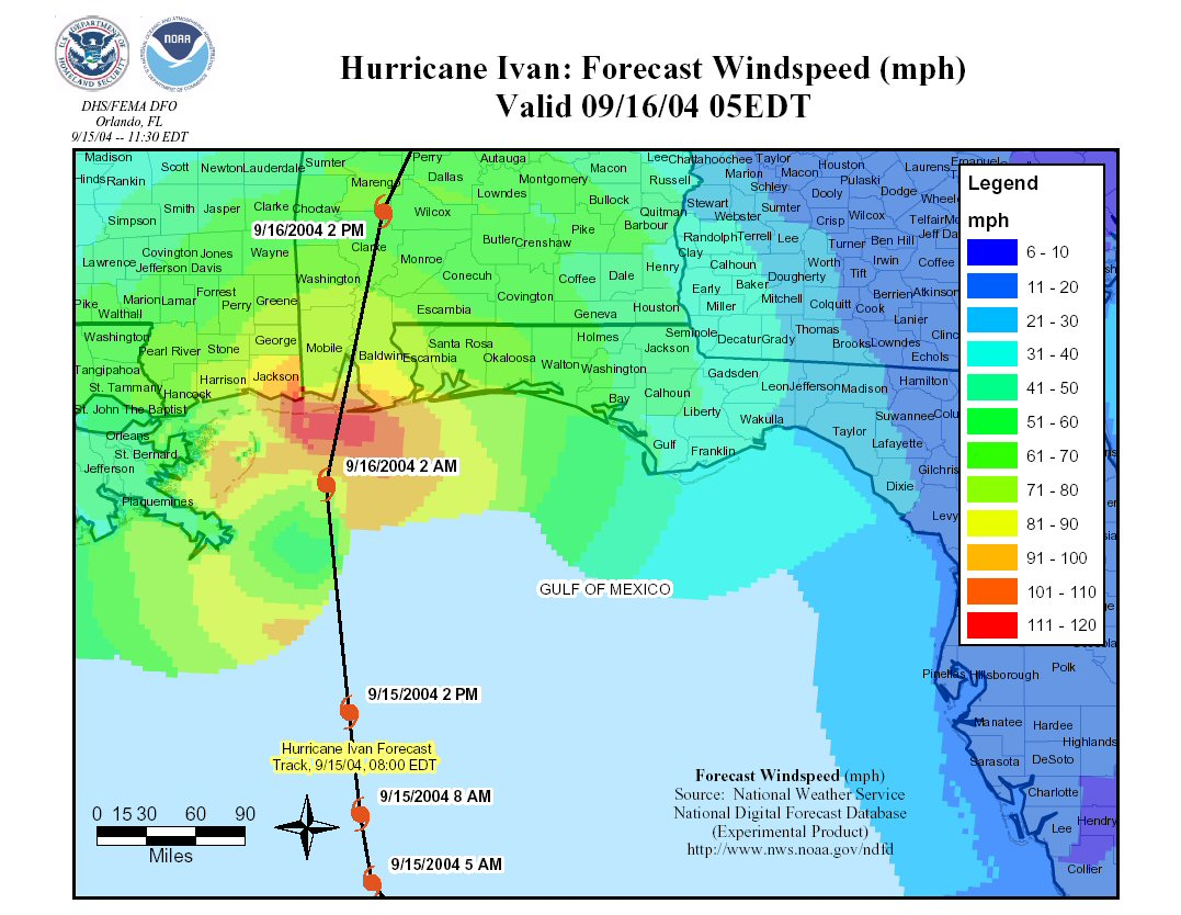 Figure 2: Forecast wind speed along the shore of the Gulf of Mexico during Hurricane Ivan