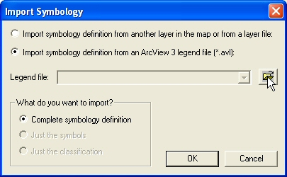 Figure 12: Browse through ArcView 3 legend files to import the symbology