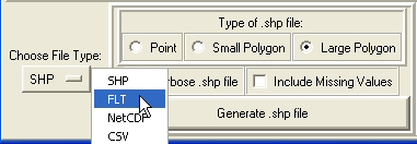 Figure 19: Choose FLT from the Choose File Type drop-down menu to generate a float file