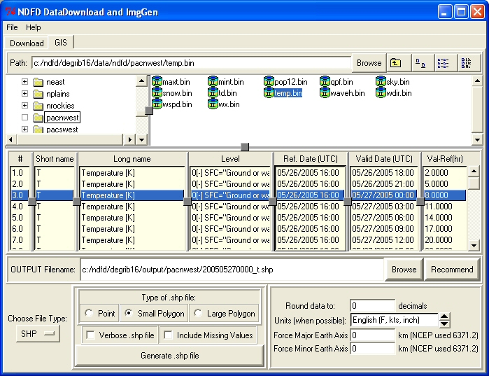 Figure 4: The temp (temperature) file has been expanded                   and a data set is highlighted in the inventory chart